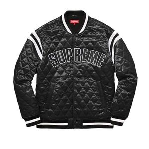 Supreme Black Satin Quilted Varsity Bomber Jacket